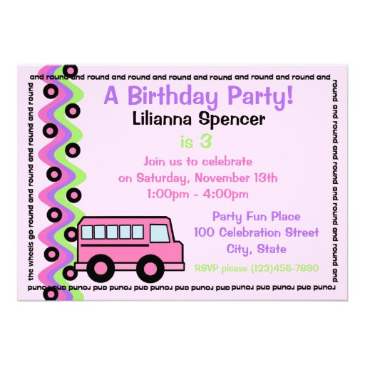 El autobús escolar rueda rosa invitacion personalizada