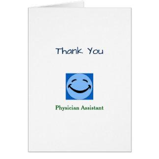 El ayudante del médico le agradece tarjeta de felicitación
