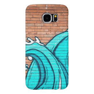El azul agita la pintada mural fresca de la pared funda samsung galaxy s6