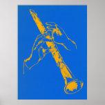 El azul anaranjado del vintage da el Clarinet Benn Poster