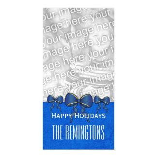 El azul de GROUPON arquea las Felices Navidad V7 Tarjeta Fotográfica Personalizada