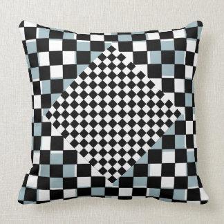 El azul de la almohada de la decoración colorea el