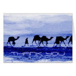 El azul de la caravana del camello del desierto le tarjetas