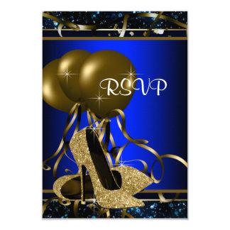 El azul de la mujer y tacón alto RSVP del oro Invitación 8,9 X 12,7 Cm