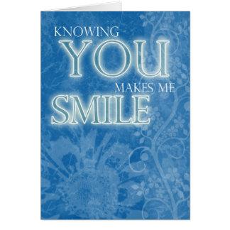 El azul de las flores de la tarjeta de la amistad