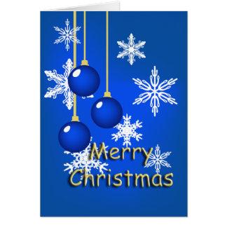 El azul del copo de nieve adorna la tarjeta de