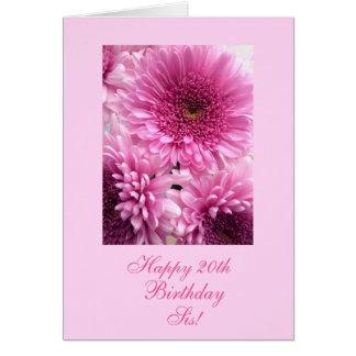 El azul del cumpleaños de la hermana (edad) tarjeta de felicitación