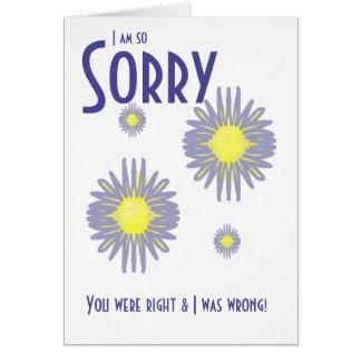 El azul derecho y incorrecto triste florece 2 2 tarjeta de felicitación