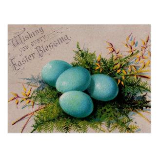 El azul Eggs los saludos de Pascua Postal
