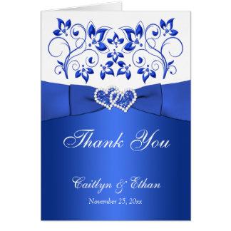 El azul, floral blanco, el casarse de los tarjeta pequeña