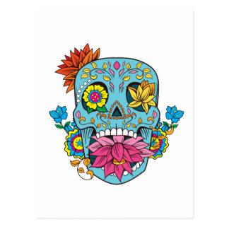 El azul florece el cráneo mexicano del azúcar del postal