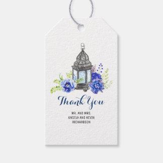 El azul florece la linterna etiquetas para regalos