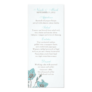 El azul florece las tarjetas del menú invitación 10,1 x 23,5 cm