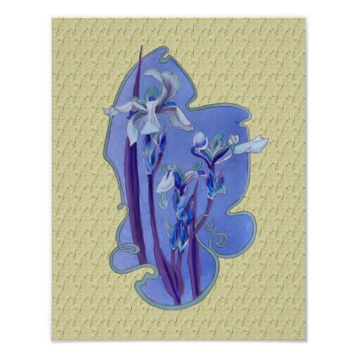 El azul irisa el poster floral del arte