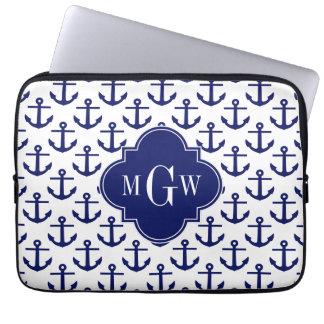 El azul marino ancla a BG blanca, monograma Funda Para Ordenador