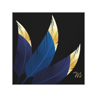 El azul Oro-Inclinado empluma arte de la lona del