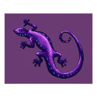 El azul púrpura del lagarto de la cola larga manch impresión fotográfica