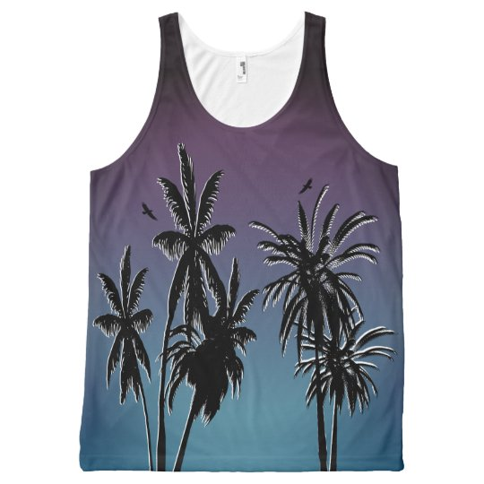 El azul púrpura del trullo se descolora puesta del camiseta de tirantes con estampado integral