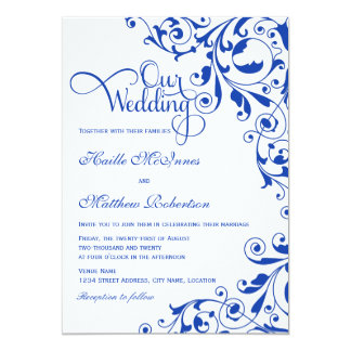 El azul real elegante remolina boda invitación 12,7 x 17,8 cm