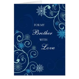 El azul remolina tarjeta de las Felices Navidad de