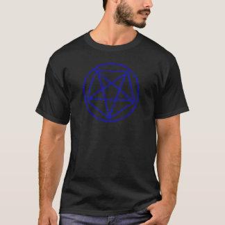 El azul se descoloró camiseta satánica del símbolo