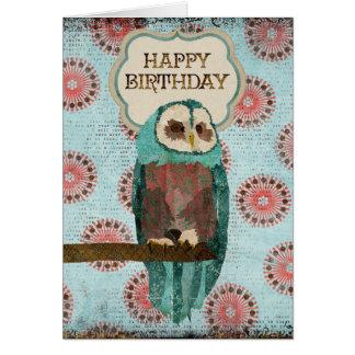 El azul y se ruboriza tarjeta de cumpleaños del bú