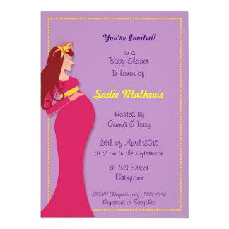 El babyshower embarazada de la mamá del rosa y de invitación 12,7 x 17,8 cm
