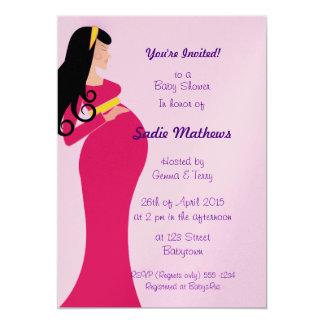 el babyshower embarazada rosado metálico de la invitación 12,7 x 17,8 cm
