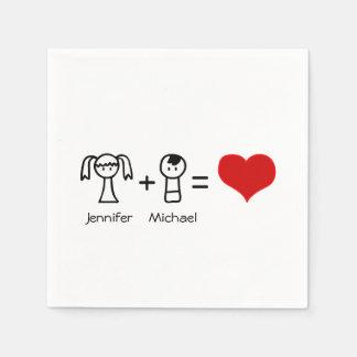 El bachelorette lindo del doodle del amor del servilletas de papel