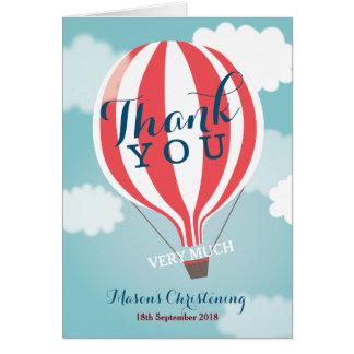 El balón de aire candente rojo le agradece tarjeta