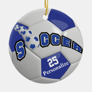 El balón de fútbol azul marino el | personaliza adorno de cerámica