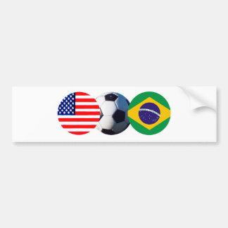 El balón de fútbol el Brasil y los E.E.U.U. señala Pegatina Para Coche
