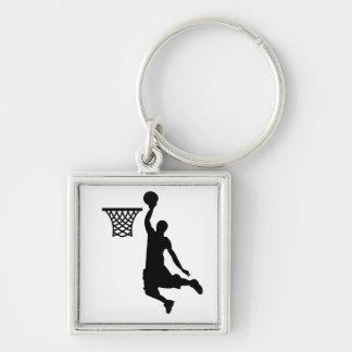 El baloncesto es grandes deportes llavero cuadrado plateado
