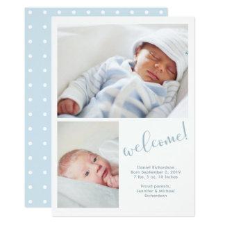 El | banal azul invitación del nacimiento del bebé