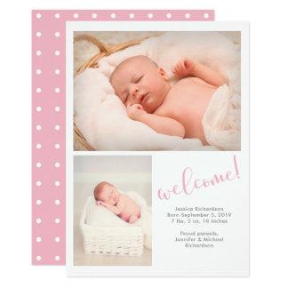 El | banal rosado invitación del nacimiento del