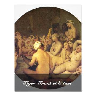 El baño turco (Tondo) por Ingres Jean Auguste hace Folleto 21,6 X 28 Cm
