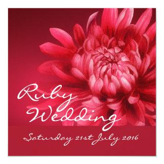 El banquete de boda de rubíes invita a 40 años de invitación 13,3 cm x 13,3cm
