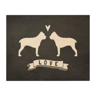 El bastón Corso siluetea amor Impresión En Madera