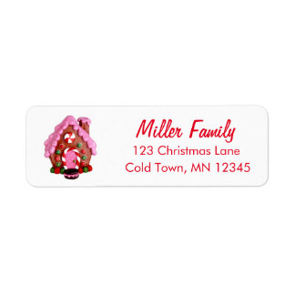 El bastón de caramelo de la casa de pan de etiqueta de remitente