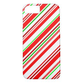 El bastón de caramelo raya verde blanco rojo del funda iPhone 7