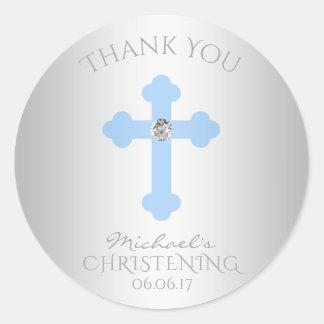 El bautismo cruzado de los azules cielos/el pegatina redonda