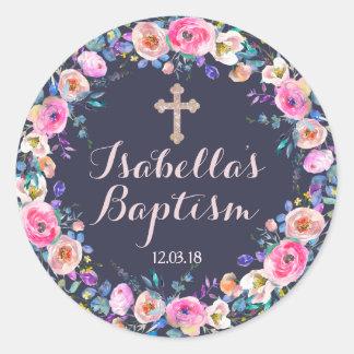 El bautismo cruzado de los rosas bebés/el chica pegatina redonda