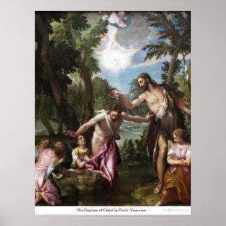 El bautismo de Cristo de Paolo Veronese Póster