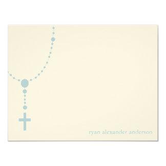 El bautismo de encargo del rosario azul le invitación 10,8 x 13,9 cm
