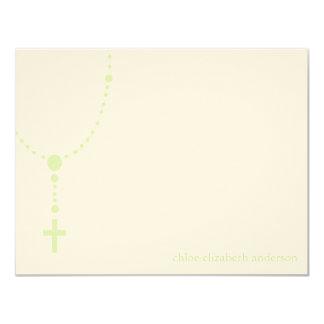 El bautismo de encargo del rosario verde le invitación 10,8 x 13,9 cm
