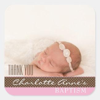 El bautismo de la foto del chica le agradece pegatina cuadrada