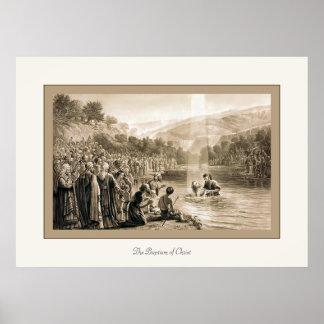 El bautismo de la impresión cristiana del vintage  poster