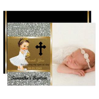 El bautismo de los chicas le agradece oro de invitación 12,7 x 17,8 cm