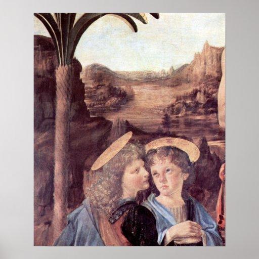 El bautismo del detalle de Cristo de Leonardo da V Poster