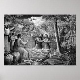 El bautismo del poster/de la impresión del Jesucri Póster